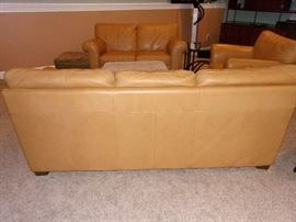 Leather sofa/couch, loveseat and distressed chair...nailhead trim ottoman and end table