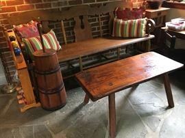 plank seat settee