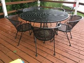 metal patio table; 6 chairs