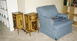 Pair of Asian tables  BUY THEM NOW  $ 85.00 EACH Bassett blue chair  BUY IT NOW $ 55.00