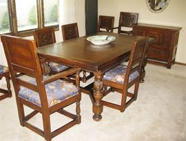 antique refractor end dining room table and 8 chairs. BUY IT NOW $ 395.00