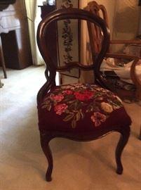 needlepoint balloon back chair