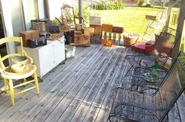 vintage crates, boxes, iron outdoor patio set