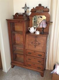 Antique secretary desk with bookcase, manufactured in Allegan (see next photo).