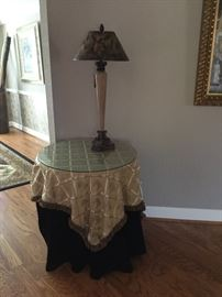 Glass topped table and lamp