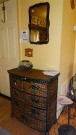 WICKER CHEST ORGANIZER. WHIMSICAL GLASS TURTLE