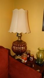 HOLLYWOOD REGENCY AMBER LAMP. MAHOGANY QUEEN ANN STYLE TABLE.
