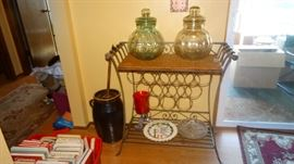WROUGHT IRON WINE RACK & SERVER, CROCKERY BUTTER CHURN, PAIR OF LARGE MELON SHAPE JARS.