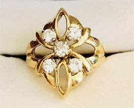 Estate Vintage Jewelry. 14k Gold Custom made Diamond Ring. Half Carat Total Diamond Weight.