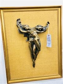Large Framed Giovanni Schoeman Bronze Sculpture . This piece was brought here by a United States Officer from London England .