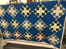 Vintage Handmade Quilt that has signatures sewn into the Quilt