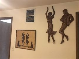 mid century wood carving wall art