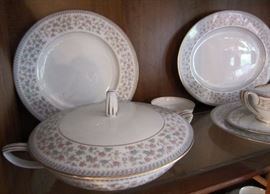 "Twelve places settings and serving pieces of Noritake china ""Sharlene"" pattern"