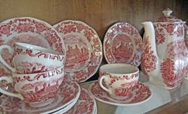 "Wedgwood ""Royal Homes of Britain"" red transferware luncheon set including cups/saucers, luncheon plates, coffee and tea pots, crm & sgr  ..GREAT SET"
