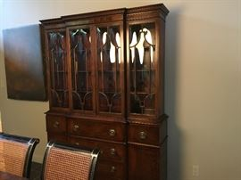 Antique Armoire with curved glass