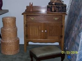 Oak Wash Stand, set of Baskets, Stool