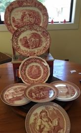 A small sample of the red Transferware including Spode Christmas dishes