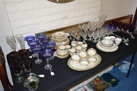 Crystal, Lenox china, glassware