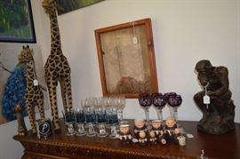 Giraffs, stemware, padre cups