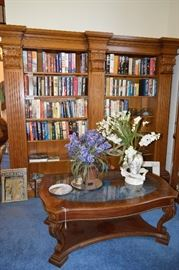 Bookcases, books, coffee table