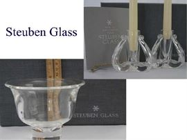 Steuben Glass Bowl & Candle Holders
