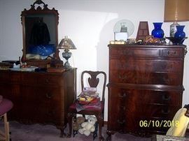 Dresser w/ mirror and High boy