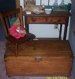Early small table, child's chair and small dovetailed w/ brass corners chest