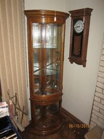 Corner curved glass lighted curio