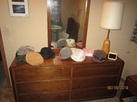 Lane dresser and mirror, vintage hats