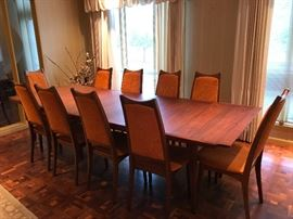 Moreddi Table and Chairs (3 Leaves, Table Pads and 10 Chairs)