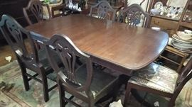 Duncan Phyfe table with six chairs