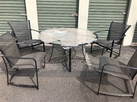 Brown Jordan wave patio table and chaids