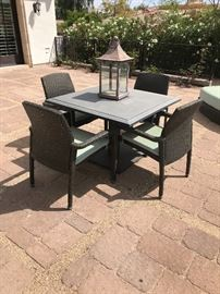 Tropitone evo dining table and chairs stone top wicker in excellent condition