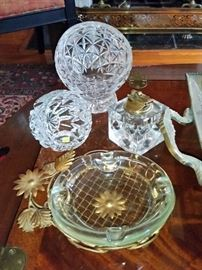 Mid-century crystal sphere shape ash trays and table lighter