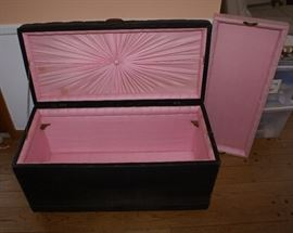 Tufted Black Leather Antique Trunk with Pink Fabric Insert