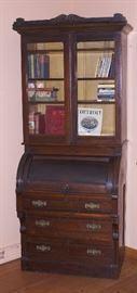 Victorian Era Walnut 2 Piece Cylinder Desk with Original Glass Bookcase
