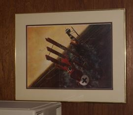 WWI Framed Lithograph of Early Bi-Planes, Red Barron in Dog Fight