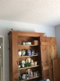 Primitive pine cabinet with shelves
