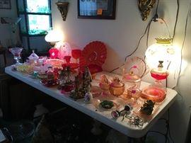 depression glass, vintage lamps