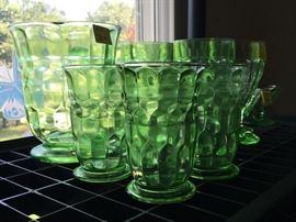 vintage green glassware