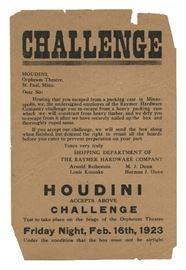 Houdini Orpheum Theatre Packing Case Escape Challenge Handbill. Estimated between 500/700