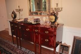Server with Decorative Items, Mirror and Pair of Candelabras