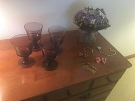 We have 8 of these vintage plum Wedgewood goblets