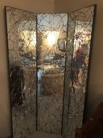 3 panel cracked glass mirror