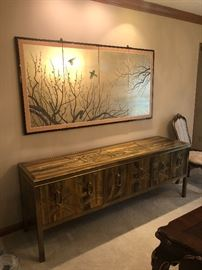 **Absolutely stunning Mastercraft acid etched credenza by Bernard Ohne (artist) **Beautiful Franklin gallery collection Byobu screen by artist Haruki Sakuraba,