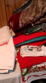 Linens, blankets, tableware