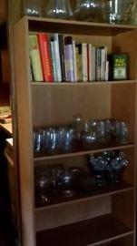 Books & glassware. Bookcase