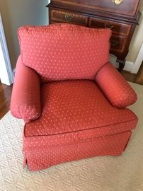 Custom Upholstered chairs by Charles Stewart Company. Fabric  has small yellow ladybug  print.