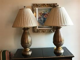 Pair of brass bamboo and floral lamps