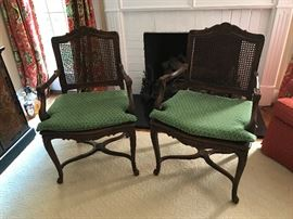 Pair of Reproduction French cane chairs with cushions